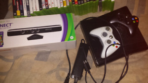 Xbox 360 with kinect and 33 games