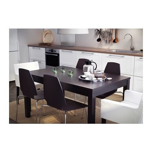 Extendable Dining Table Seats 6 - 10 people comfortably - IKEA Bjursta Black/Brown