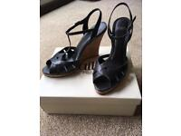 Faith black leather wedge sandals