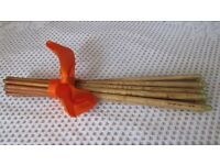 ORIENTAL CHOP STICKS, MARKINGS ON STEMS, METAL TIPPED ENDS,