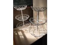 Pair of Cream wire three-tier cake stands
