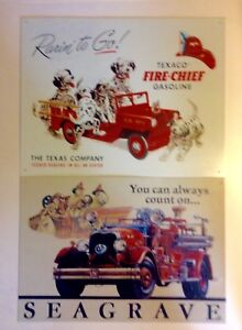 Set of Tin Signs Texaco Fire Chief and Seagrave Fire Truck