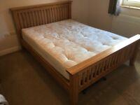 Solid Oak King Size Bed & Mattress (MINT)
