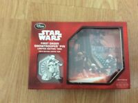 Star Wars first order snow trooper pin badge. Limited edition. Boxed