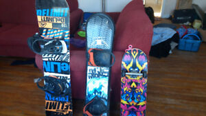 Two Snow boards and Skateboard for sale