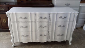 Professionally painted White French Provincial vintage dresser