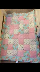Handmade toddler bed throw, pillow case and cushion covers