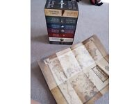 Game of Thrones complete book set with a map