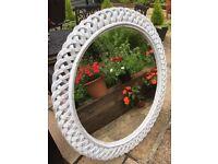Very Large Shabby Chic White Painted Lattice Edge Circular Mirror 110cm Diameter