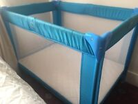 Large travel cot with mattress