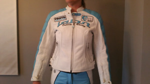 Ladies ICON leather motorcycle jacket and pants