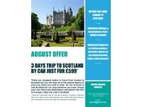 3 days trip London to Scotland by Car - Just for £599 - Unlimited mileage/stopovers