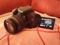 Canon 600D w/ 18 - 55 mm lens and original box, DSLR digital camera, ext. flash