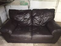 2 seater, brown leather sofa