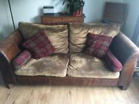 Halo leather and fabric 3 seater sofa