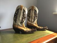 Mens leather cowboy boots plus leather belt for free