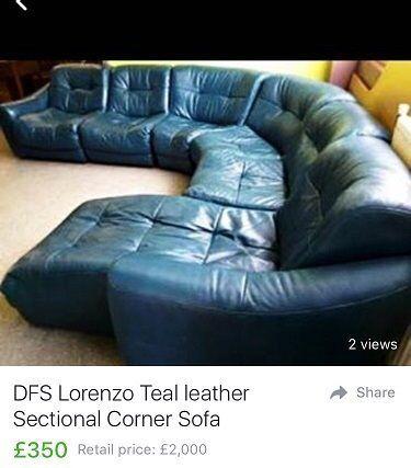 Dfs Lorenzo Teal Leather Sofa