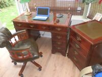 Reproduction Antique Style Leather Desk, with matching filing cabinet & Chesterfield Captain's chair