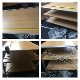 Wood and metal matching coffee table and tv unit