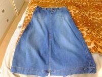 Denim long skirt size 14