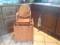 Lovely wooden highchair, converts to table and chair. Nice item.