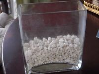 Oblong clear glass vase