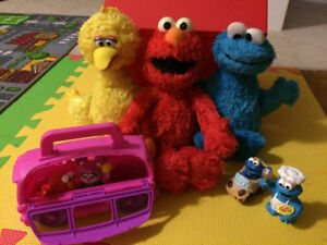 Seseme street stuffies and toy bus