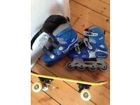 Roller Blades size 3 plus mini skateboard