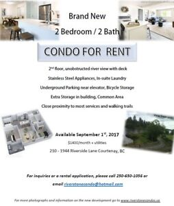 Brand New Riverfront Condo with View - Sept 1