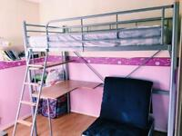 Single Bunk Bed with Writing Desk and Futon