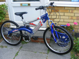 "BOYS 24"" WHEEL FULL SUSPENSION BIKE IN GREAT WORKING ORDER AGE 8+"