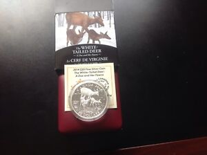 2014 $20 Silver Coin, The white tailed deer- a doe and her fawns