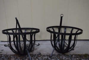 REDUCED: 2 Hanging Wrought Iron Round Planters