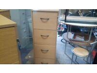 4 drawer beech filing cabinet