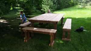 Rustic picnic table/bench set, custom-built, long lasting