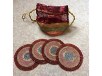 Set of 4 beautiful beaded coasters in bag