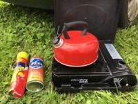 Yellowstone Portable Camping Stove + Gas + Kettle + Refillable Lighter & Fluid!