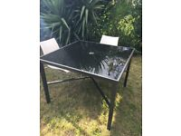 4 person black patio table