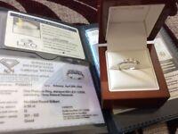 ERNEST JONES PLATINUM & LEO DIAMOND TRILOGY RING 0.55 CARAT SIZE L. RRP NOW £3500 BARGAIN £650