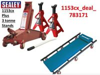 Sealey Car Creeper 1153CX Trolley Jack 3 TONNE + 3 TON AXLE STAND