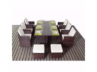 Brown Rattan Deluxe Dining Set with Footstools (Seats 10)