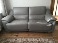 Sofa grey leather electric recliner 3 seater