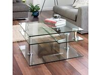 DWELL Jacque extending glass coffee table (clear glass) AS NEW