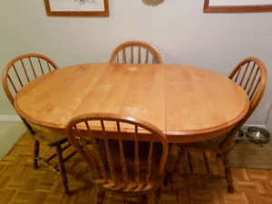 5 piece oak pedestal table