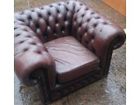 Chesterfield leather Sofa Armchair Very Comfy can delivery free local or near collect M30
