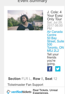 Front row jcole tickets for tonight (500 for both)