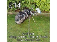 Golf Set - Includes Bag, Clubs, Balls & Tees - Ideal Starter set