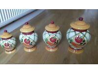 4x kitchen storage pots