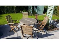 'Alfresco' hardwood garden table and four chairs, folds flat
