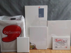 Various size good quality canvas and drawing papers